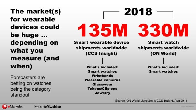 © 2014 eMarketer Inc.  The market(s)  for wearable  devices could  be huge ...  depending on  what you  measure (and  when...