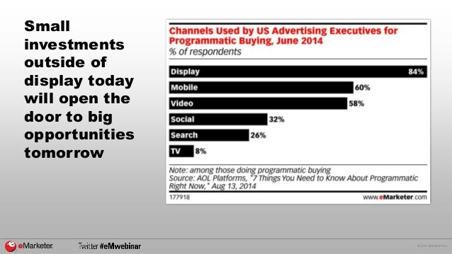 © 2014 eMarketer Inc.  Small investments outside of display today will open the door to big opportunities tomorrow