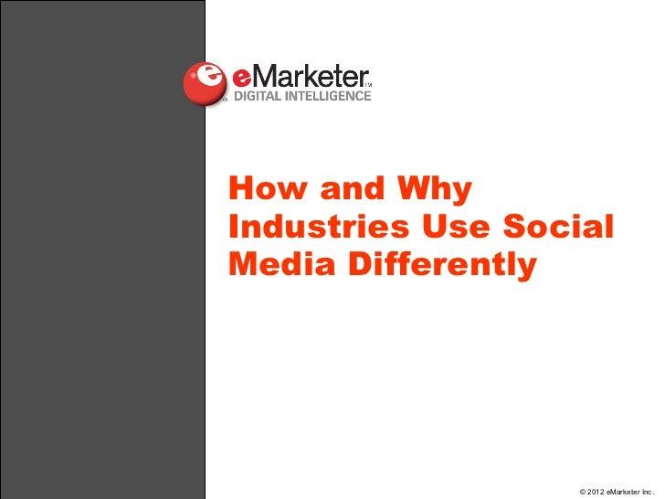 eMarketer Webinar: Social Media Marketing for Verticals—What