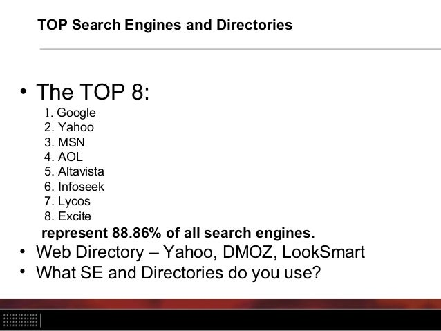 TOP Search Engines and Directories • The TOP 8: 1. Google 2. Yahoo 3. MSN 4. AOL 5. Altavista 6. Infoseek 7. Lycos 8. Exci...