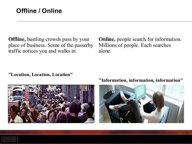 Offline / Online Offline, bustling crowds pass by your place of business. Some of the passerby traffic notices you and wal...