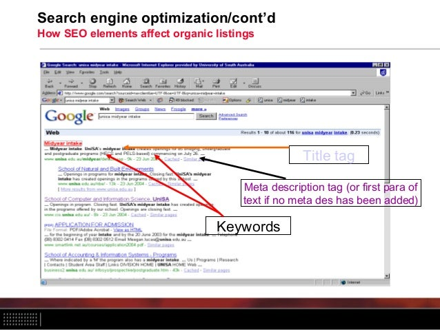 Search engine optimization/cont'd How SEO elements affect organic listings Title tag Meta description tag (or first para o...