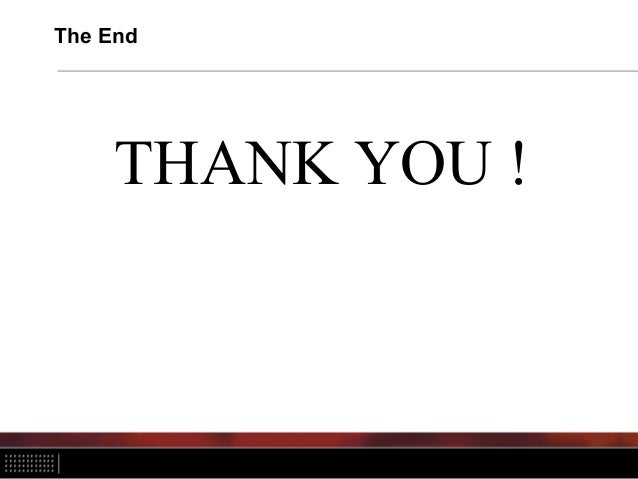 The End THANK YOU !