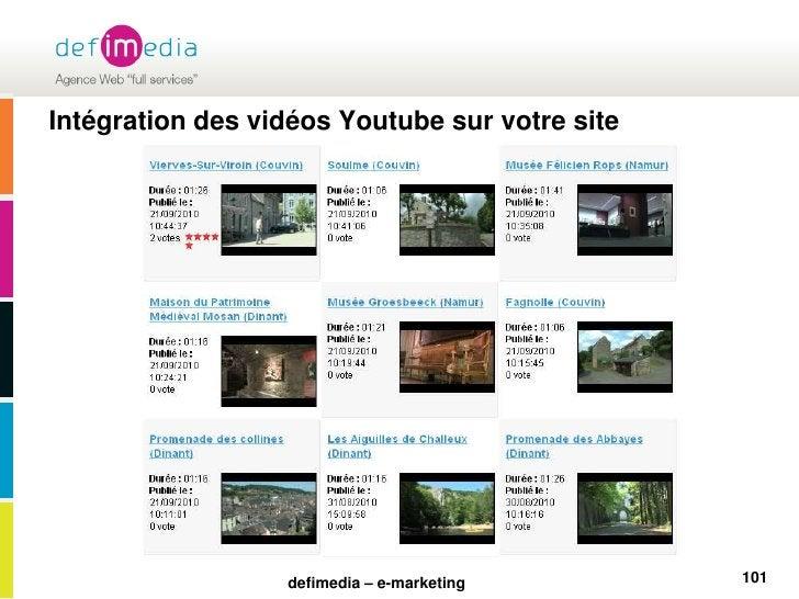 Intégration des vidéos Youtube sur votre site<br />101<br />