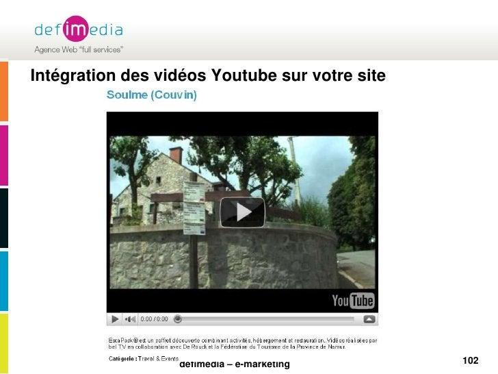 Intégration des vidéos Youtube sur votre site<br />102<br />