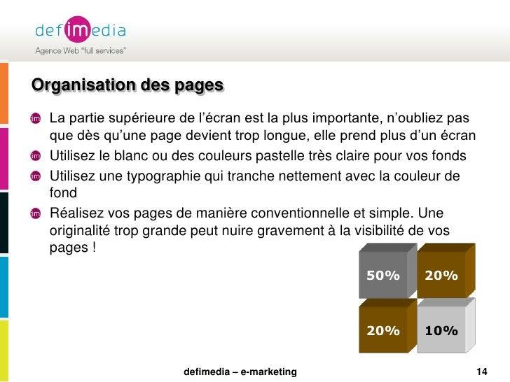 20%<br />50%<br />10%<br />20%<br />Organisation des pages<br />La partie supérieure de l'écran est la plus importante, n'...