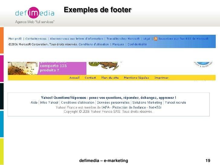 19<br />Exemples de footer<br />