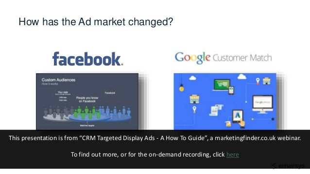 """How has the Ad market changed? This presentation is from """"CRM Targeted Display Ads - A How To Guide"""", a marketingfinder.co..."""