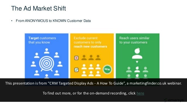 """The Ad Market Shift • From ANONYMOUS to KNOWN Customer Data This presentation is from """"CRM Targeted Display Ads - A How To..."""