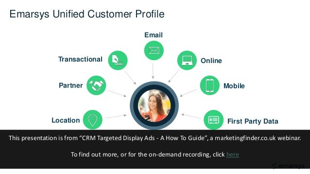 Online Email Transactional First Party Data MobilePartner Location Emarsys Unified Customer Profile This presentation is f...