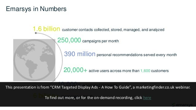 Emarsys in Numbers 1.6 billion customer contacts collected, stored, managed, and analyzed 10,000+ automated programs 250,0...