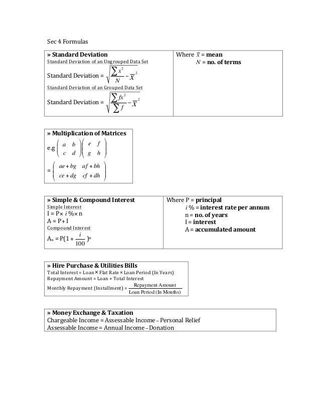 Elementary Mathematics List of Formulas