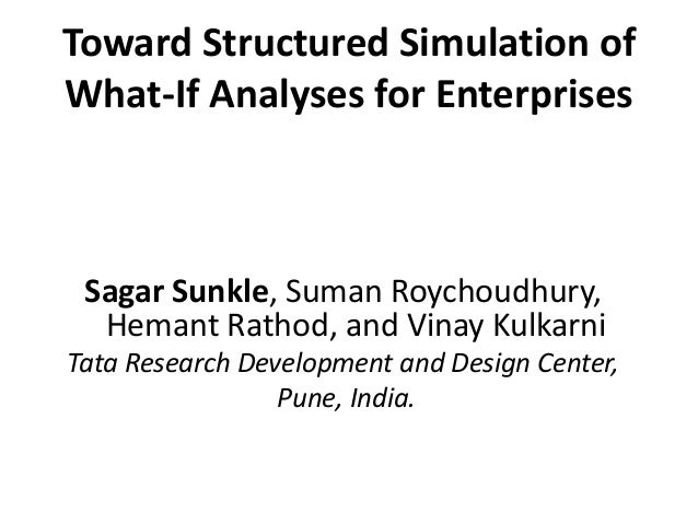 Toward Structured Simulation of  What-If Analyses for Enterprises  Sagar Sunkle, Suman Roychoudhury,  Hemant Rathod, and V...