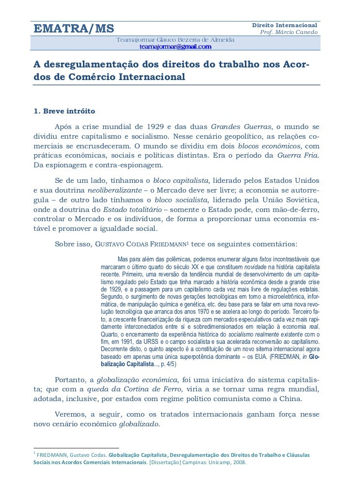 Direito InternacionalEMATRA/MS                                                                                 Prof. Márci...