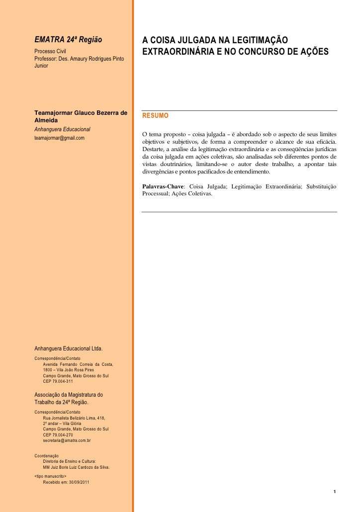 EMATRA 24ª Região                          A COISA JULGADA NA LEGITIMAÇÃOProcesso Civil                             EXTRAO...