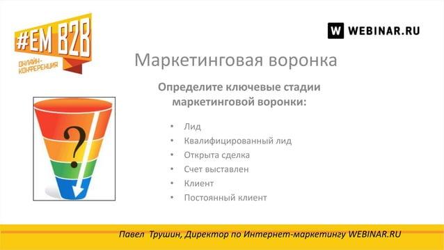 Маркетинговая воронка Павел Трушин, Директор по Интернет-маркетингу WEBINAR.RU Определите ключевые стадии маркетинговой во...