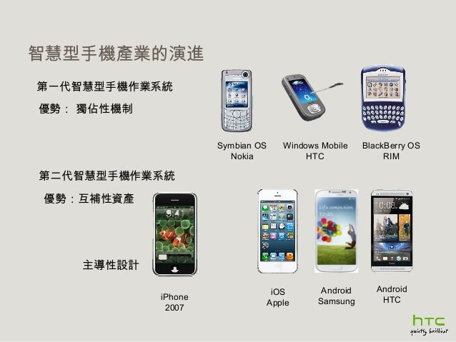 智慧型手機產業的演進 第一代智慧型手機作業系統 優勢: 獨佔性機制 Symbian OS Nokia  Windows Mobile HTC  BlackBerry OS RIM  第二代智慧型手機作業系統 優勢:互補性資產  主導性設計 iP...