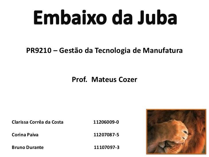 Embaixo da Juba<br />PR9210 – Gestão da Tecnologia de Manufatura<br />Prof.  Mateus Cozer<br />Clarissa Corrêa da Costa   ...
