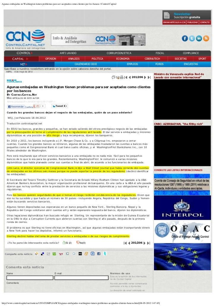 Agunas embajadas en Washington tienen problemas para ser aceptados como clientes por los bancos   Control Capital         ...