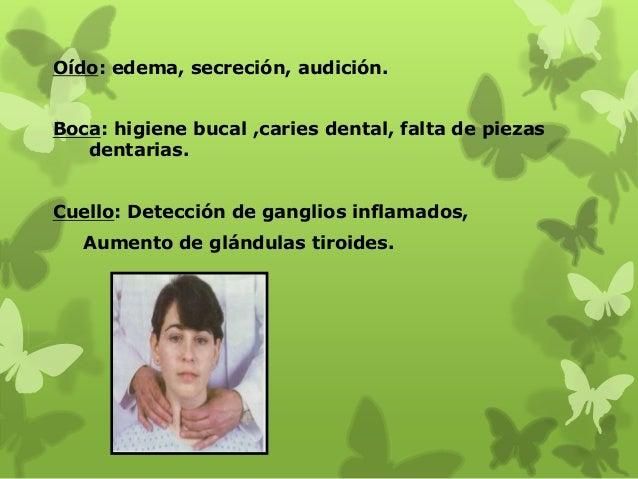 Oído: edema, secreción, audición. Boca: higiene bucal ,caries dental, falta de piezas dentarias. Cuello: Detección de gang...
