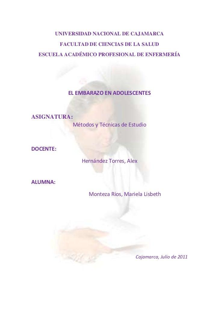 UNIVERSIDAD NACIONAL DE CAJAMARCA<br />FACULTAD DE CIENCIAS DE LA SALUD<br />-493395-7143751143000273050ESCUELA ACADÉMICO ...