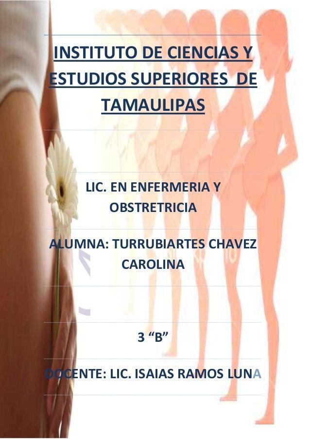 1 INSTITUTO DE CIENCIAS Y ESTUDIOS SUPERIORES DE TAMAULIPAS LIC. EN ENFERMERIA Y OBSTRETRICIA ALUMNA: TURRUBIARTES CHAVEZ ...