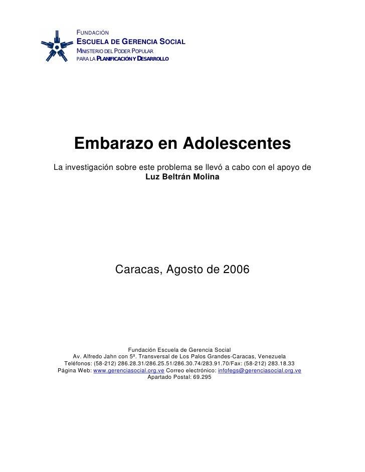 FUNDACIÓN        ESCUELA DE GERENCIA SOCIAL        MINISTERIO DEL PODER POPULAR        PARA LA PLANIFICACIÓN Y DESARROLLO ...