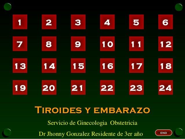 1 2 3 4 5 6 7 8 9 10 11 12 13 14 15 16 17 18 19 20 21 22 23 24 Tiroides y embarazoTiroides y embarazo Servicio de Ginecolo...