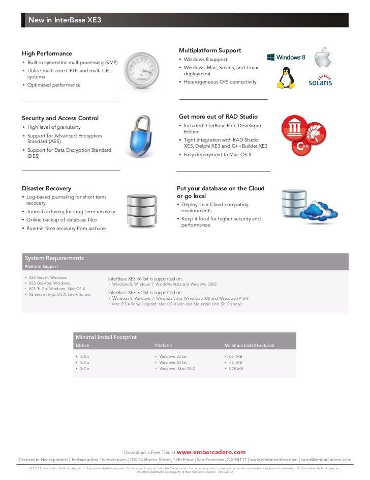 Embarcadero InterBase XE3 datasheet