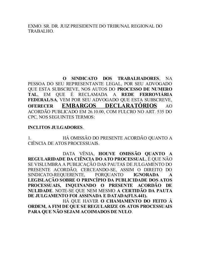 EXMO. SR. DR. JUIZ PRESIDENTE DO TRIBUNAL REGIONAL DO TRABALHO. O SINDICATO DOS TRABALHADORES, NA PESSOA DO SEU REPRESENTA...