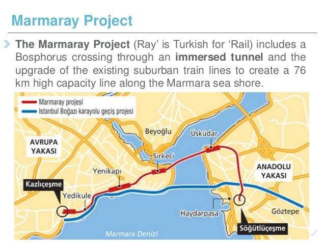 The Marmaray Project (Ray' is Turkish for 'Rail) includes a Bosphorus crossing through an immersed tunnel and the upgrade ...