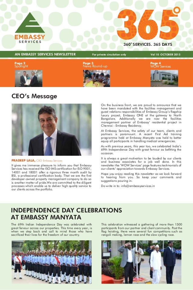 Page 3 News Round-up Page 4 WOW Services Page 2 Spotlight AN EMBASSY SERVICES NEWSLETTER Vol 10 OCTOBER 2015 360 SERVICES....