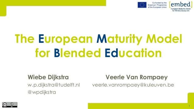Wiebe Dijkstra Veerle Van Rompaey w.p.dijkstra@tudelft.nl veerle.vanrompaey@kuleuven.be @wpdijkstra The European Maturity ...
