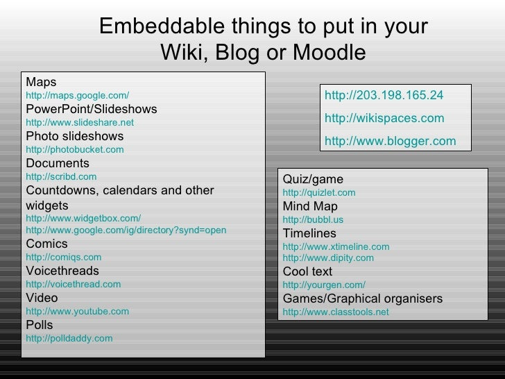 Embeddable things to put in your Wiki, Blog or Moodle Maps http://maps.google.com/ PowerPoint/Slideshows http://www.slides...