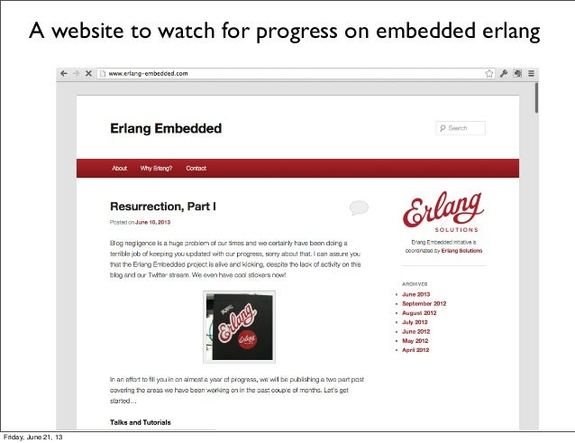 A website to watch for progress on embedded erlangFriday, June 21, 13