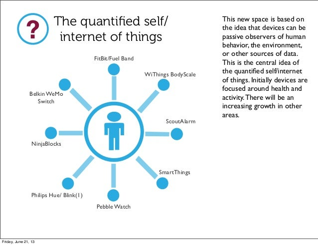 The quantified self/internet of things?FitBit/Fuel BandWiThings BodyScaleScoutAlarmSmartThingsPebble WatchPhilips Hue/ Blin...