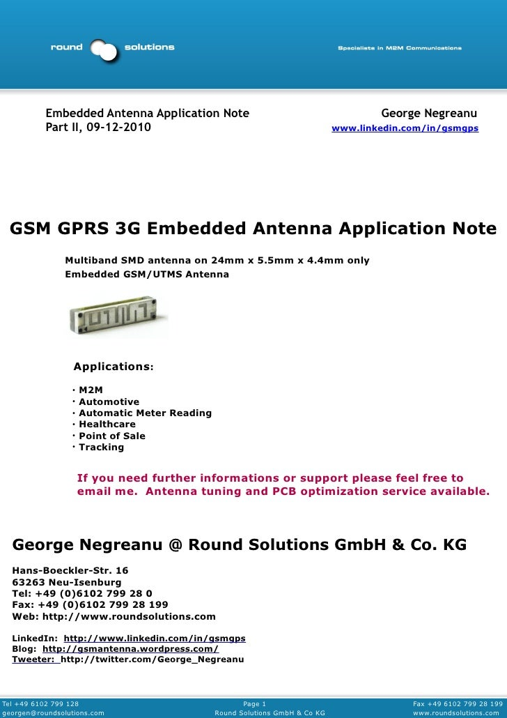GPRS UMTS Embedded Antenna Application Note Part II