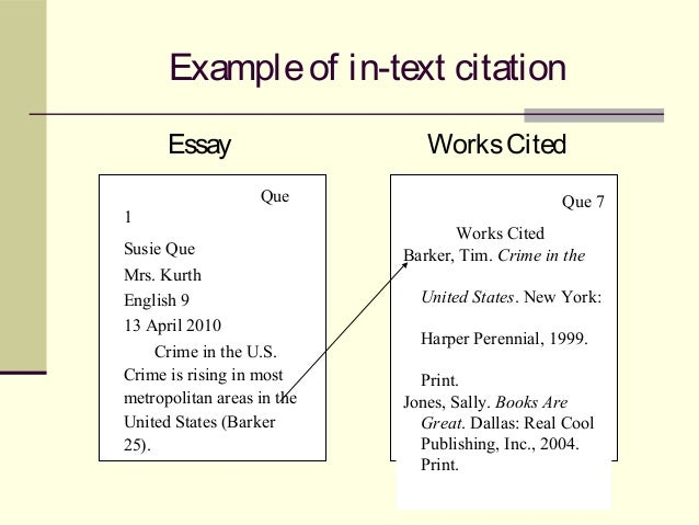 Essay in text citations