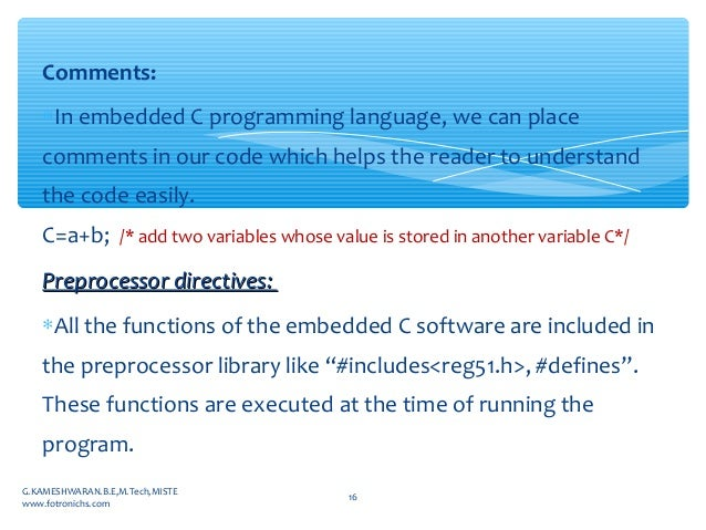 Embedded c program and programming structure for beginners
