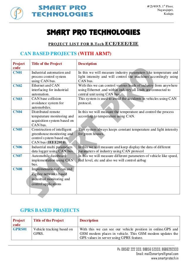 SMART PRO TECHNOLOGIES  #2/495, 1st Floor, Nagarajupet, Kadapa  SMART PRO TECHNOLOGIES PROJECT LIST FOR B .Tech  ECE/EEE/E...