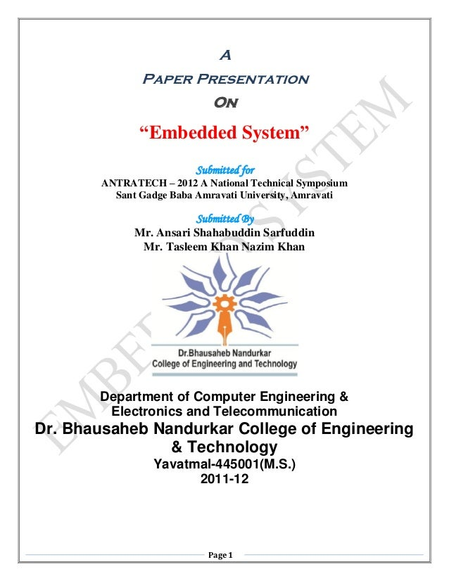 "A               Paper Presentation                             On               ""Embedded System""                         ..."