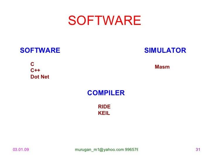 SOFTWARE  <ul><li>SIMULATOR </li></ul><ul><ul><li>Masm </li></ul></ul>SOFTWARE C C++ Dot Net <ul><li>COMPILER </li></ul><u...