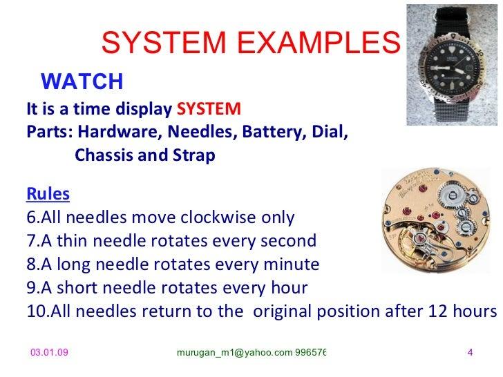 SYSTEM EXAMPLES <ul><li>WATCH </li></ul><ul><li>It is a time display  SYSTEM </li></ul><ul><li>Parts: Hardware, Needles, B...