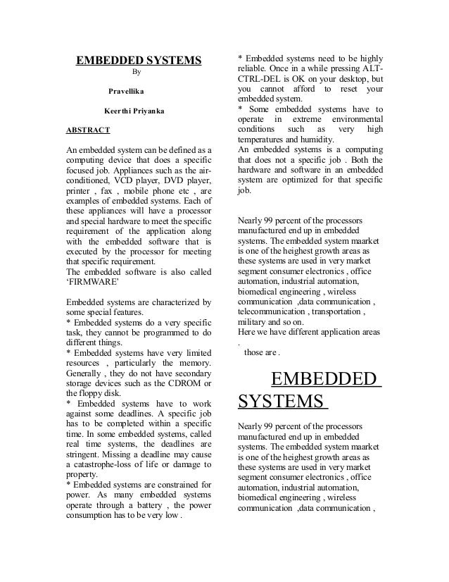 EMBEDDED SYSTEMS                          * Embedded systems need to be highly                  By                        ...