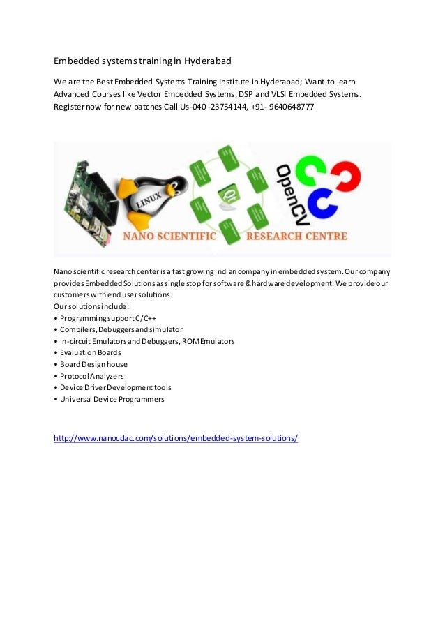 Embedded systems training in Hyderabad We are the Best Embedded Systems Training Institute in Hyderabad; Want to learn Adv...