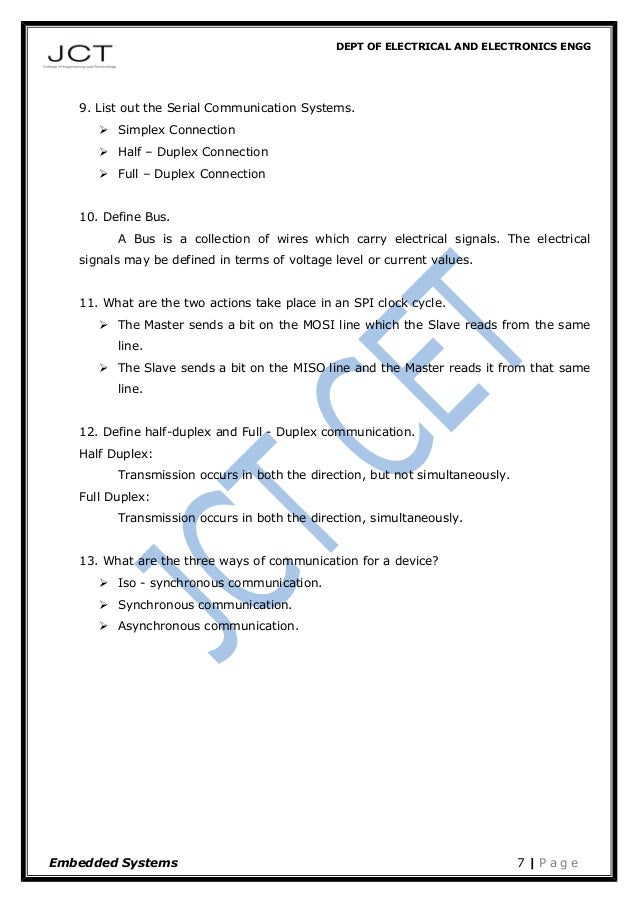 DEPT OF ELECTRICAL AND ELECTRONICS ENGG 9. List out the Serial Communication Systems.  Simplex Connection  Half – Duplex...