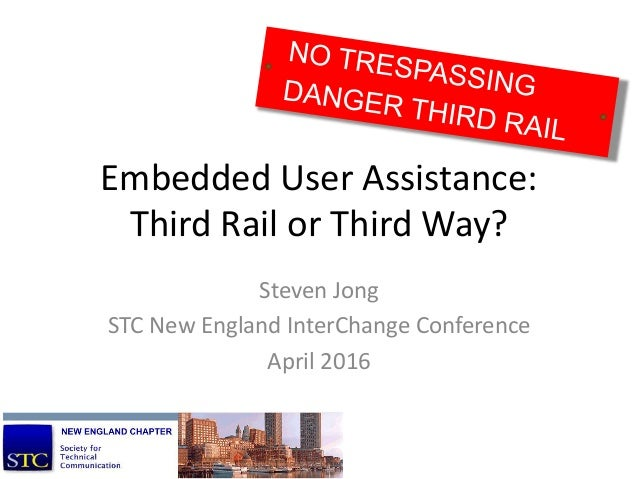 Embedded User Assistance: Third Rail or Third Way? Steven Jong STC New England InterChange Conference April 2016