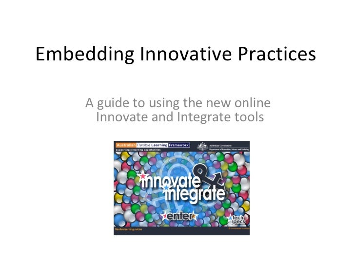 Embedding Innovative Practices A guide to using the new online  Innovate and Integrate tools