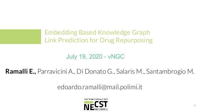 Ramalli E., Parravicini A., Di Donato G., Salaris M., Santambrogio M. edoardo.ramalli@mail.polimi.it Embedding Based Knowl...