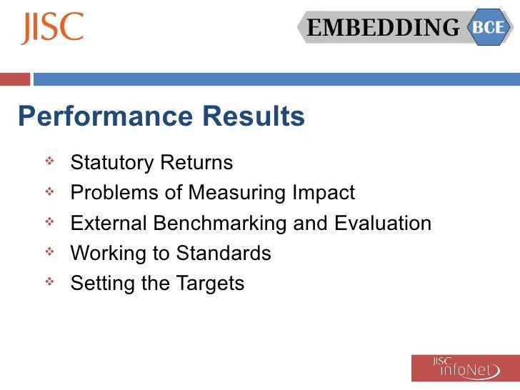Performance Results <ul><li>Statutory Returns </li></ul><ul><li>Problems of Measuring Impact </li></ul><ul><li>External Be...